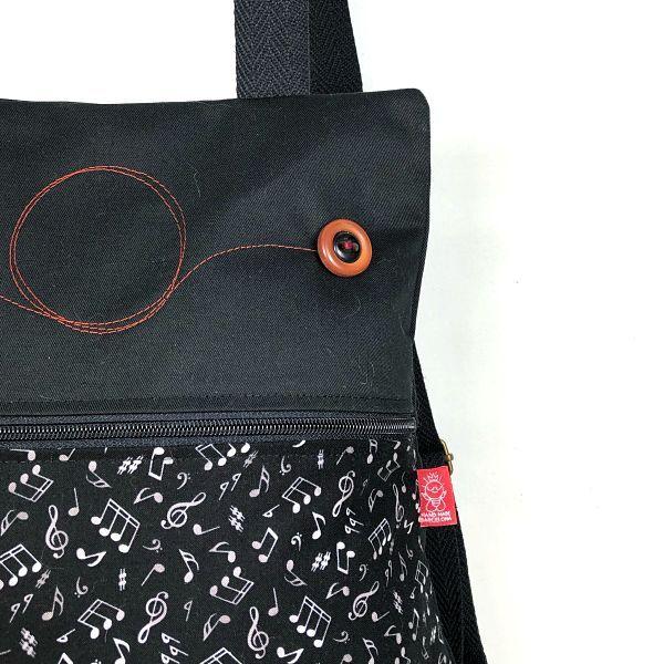 mochila tela handmade MB035 musical detalle