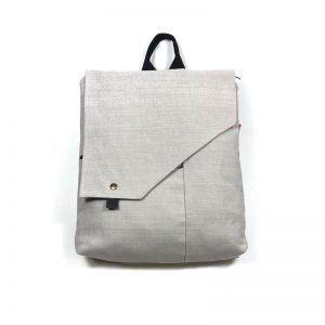 mochila bolso tela grey white mnk053