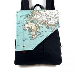 mochila bolso tela mapas