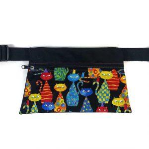 riñonera de tela handmade gatos