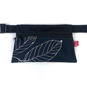 riñonera grande doble handmade hojas